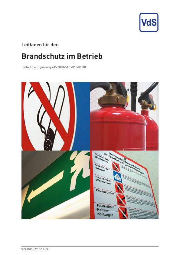 VdS Webshop - Leitfaden fr den Brandschutz im Betrieb